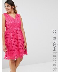 Lovedrobe - Premium - Tief ausgeschnittenes Ballkleid mit Netz-Oberlage - Rosa