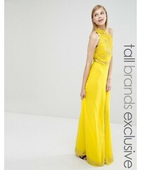 Maya Tall - Robe longue avec col montant et ornements - Jaune