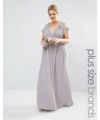TFNC Plus Wedding - Robe longue cache-cœur à épaules dénudées - Gris