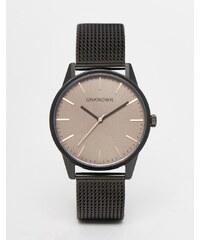 UNKNOWN - Klassische Uhr mit Netzarmband und braunem Zifferblatt - Schwarz