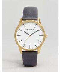 UNKNOWN - Classic - Armbanduhr mit Lederriemen in Marineblau, 39 mm - Blau