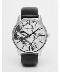 UNKNOWN - Montre de ville 39mm avec bracelet en cuir et cadran marbré - Noir