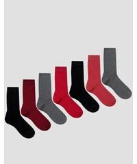 ASOS - Lot de 7 paires de chaussettes - Prune - Multi