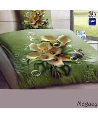 YooY 3D zelené povlečení se žlutými květy
