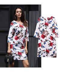 Lesara Shirtkleid mit Rosen-Muster - S