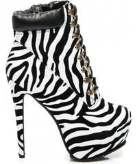 Dámské boty na podpatku Any bílo-černé - bílá - černá