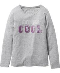 bpc bonprix collection T-shirt à manches longues avec application à paillettes, T. 116/122-164/170 gris enfant - bonprix