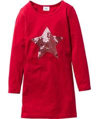 bpc bonprix collection Robe de fête avec application à paillettes, T. 116/122-164/170 rouge manches longues enfant - bonprix