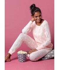 Große Größen: Vivance Dreams Moderner Pyjama mit Alloverprint, rosa mit Herzen, Gr.32/34-44/46