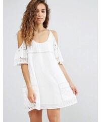 d.RA - Nancy - Robe à épaules dénudées et œillets - Blanc