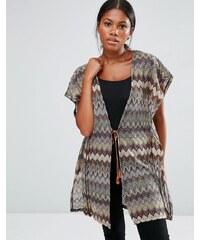 Vero Moda - Kimono motif zigzags - Vert