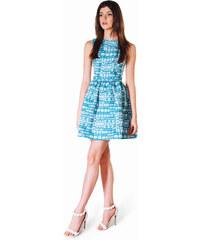 ANASTASIIA IVANOVA Robe Blanche et Turquoise à Imprimés Jacquard