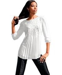 Damen Lady Bluse in fließender leicht transparenter Chiffon-Qualität LADY natur 36,38,40,42,44,46,48,50,52,54
