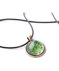 Lesara Halskette mit Blüten-Medaillon - Grün