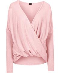 BODYFLIRT Strickpullover in Wickeloptik langarm in rosa für Damen von bonprix
