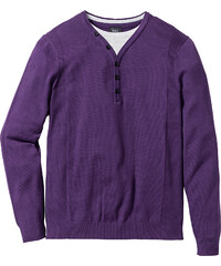 bpc bonprix collection Pull style 2en1 Regular Fit violet manches longues homme - bonprix