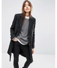 ASOS - Manteau slim en laine mélangée à poche fantaisie - Noir