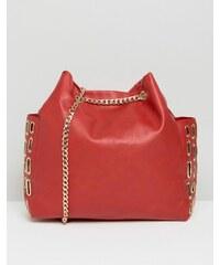 Yoki Fashion - Sac à bandoulière avec chaîne et œillet - Rouge