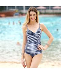 Lesara Shaping-Badeanzug mit Streifen-Muster - S