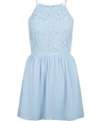 New Look Robe ado bleue pâle à imprimé floral avec empiècements en dentelle