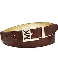 Hnědý zlatý kožený pásek Michael Kors embossed reversible oboustranný