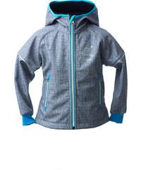 O'Style Chlapecká softschellová bunda s tučňákem - šedo-modrá