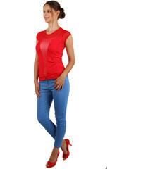 YooY Průhledné síťované tričko s aplikací na hrudi červená