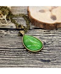 Lesara Halskette mit Glas-Anhänger Blatt Grün