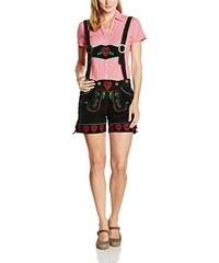 Gaudi-Leathers Damen Trachten Lederhose Shorts kurz mit Herz- und Blumenstickerei und Träger in verschiedenen Farben