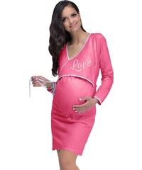 Taro Bavlněná těhotenská a kojící noční košile Johanka malinová