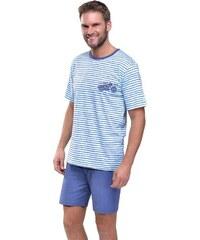 Taro Krátké pánské pyžamo Max s motorkou modré