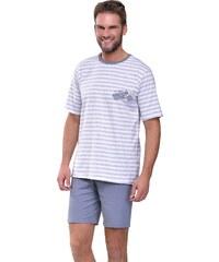 Taro Krátké pánské pyžamo Max s motorkou šedé