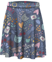 Mr. GUGU & Miss GO Skater Skirt Cats In Love