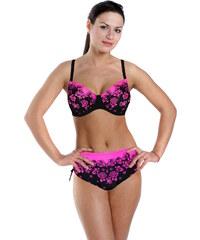 Modera Pink Rose dvoudílné plavky pro plnoštíhlé 3XL černá