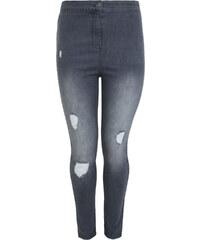 VITALITY Úzké šedé džíny s vysokým pasem