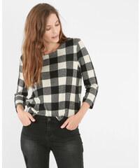T-shirt carreaux vichy gris chiné, Femme, Taille L -PIMKIE- MODE FEMME