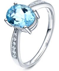 Eppi Zlatý akvamarínový prsten s diamanty Dodey