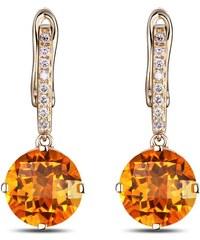 Eppi Zlaté visací náušnice s citríny a diamanty Sanis