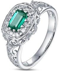 Eppi Zlatý prsten s emerald smaragdem a diamanty Mareia
