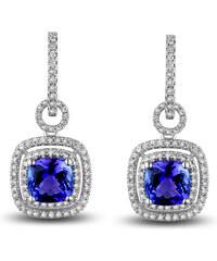 Eppi Zlaté visací náušnice s tanzanity a diamanty Ballias