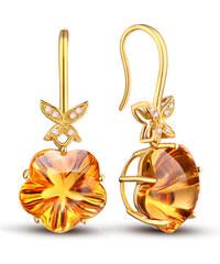 Eppi Zlaté náušnice s citríny a diamanty Laniwe