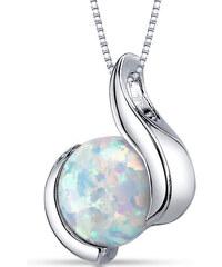 Eppi Stříbrný náhrdelník s bílým opálem Laxi