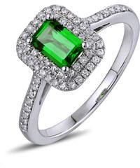 Eppi Zlatý prsten s emerald tsavorit granátem a diamanty Kanie