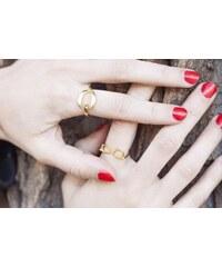 Eppi Stříbrný pozlacený prsten ve tvaru brýlí Uma