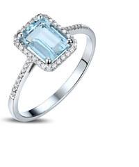 Eppi Zlatý diamantový prsten s akvamarínem Oceane