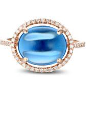 Eppi Modrý topaz a růžové zlato v diamantovém prstenu Jacquelle