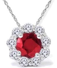 Eppi Vášnivý rubín a diamanty ve zlatém náhrdelníku Kalyani