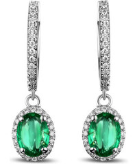 Eppi Smaragdové visací náušnice s diamanty Aayushi