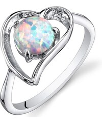 Eppi Stříbrný prsten s opálem ve tvaru srdce Misal