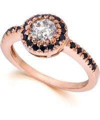 Eppi Diamantový prsten z růžového zlata s černými diamanty Lorin
